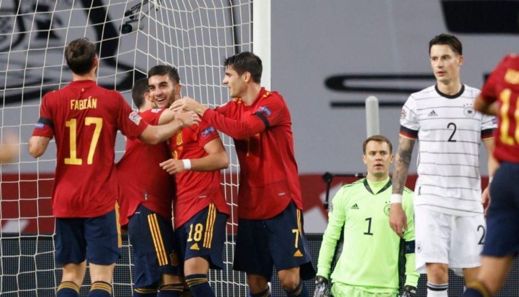 नेसन्स लिग  :जर्मनीमाथि स्पेनको आधा दर्जन गोल